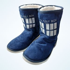 Dr. Who Blue Faux Fur Lined Tardis Slippers XXL